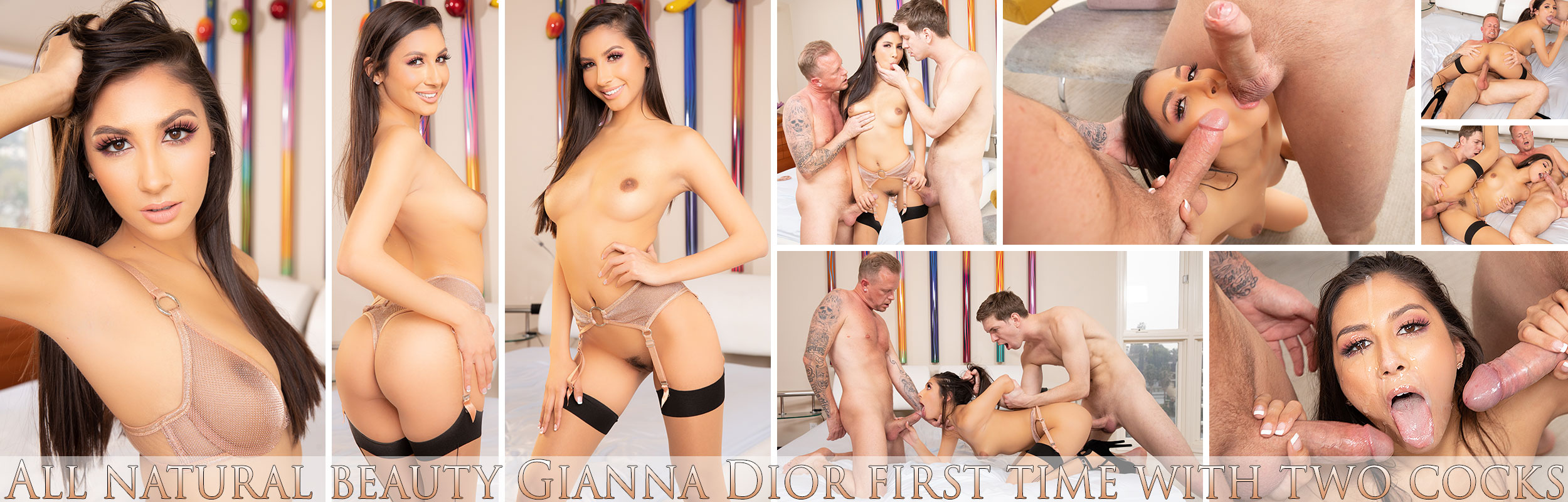 All natural beauty Gianna Dior first time with two cocks