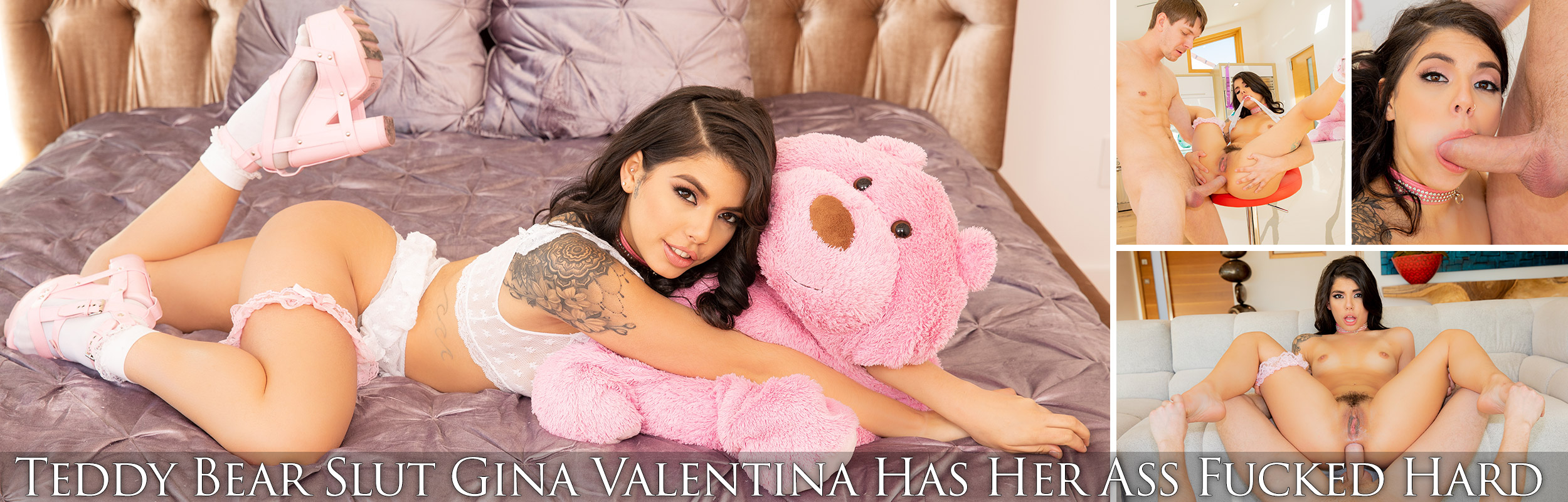 Teddy Bear Slut Gina Valentina Has Her Ass Fucked Hard
