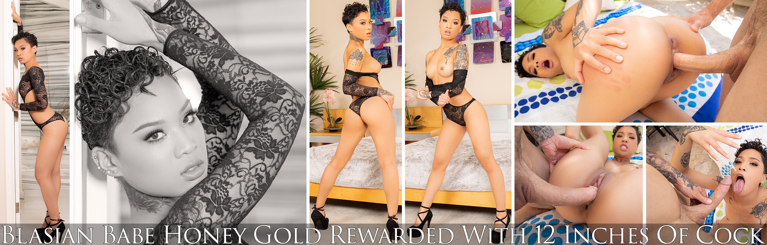 Blasian Babe Honey Gold Rewarded With 12 Inches Of Cock