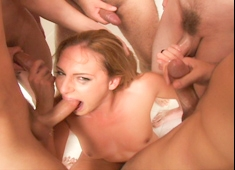 Lauren Phoenix Blows Five Random Cocks